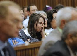 Aimee Pistorius, the sister of South African Paralympic athlete Oscar Pistorius, cries as she hears her brother tell his story of the events on the night he ... - oscar-pistorius-murder-trial-epa04158909-sister-of-south-african-paralympic-athl