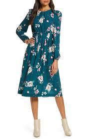 Eliza J Dress Size Chart Floral Print Long Sleeve Midi Dress In Hunter