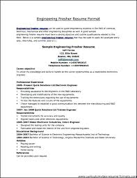 Fresher Resume Format For Engineers Resume Formats For Experienced