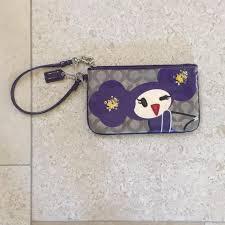 Coach Poppy Chan Violette Rare Wristlet in Purple .