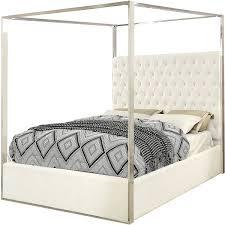 King size White Velvet Upholstered Tufted Canopy Bed Frame with ...