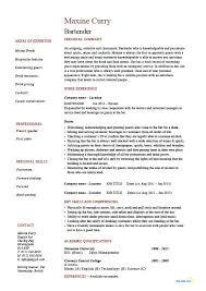 Bartender Duties For Resume Waiter Resume Examples For Letters Job