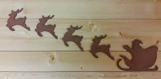 com santa sleigh and reindeer wooden santa sleigh and reindeer santa and reindeer wall decor rustic decoration gift under 30