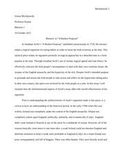 rhetorical analysis of modest proposal essay michalowski emma  rhetorical analysis of modest proposal essay michalowski 1 emma michalowski professor kaarla rhetoric i 10 2013 rhetoric in a modest proposal