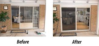 before and after installation of aluminium sliding doors in melbourne