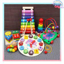 Bộ 6 món đồ chơi giáo dục - chất liệu gỗ an toàn - phát triển trí tuệ cho  bé Times City