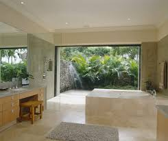 Bathrooms:Tropical Bathroom With Round Bathtub Also Light Solid Wood High  End Bathroom Vanity And