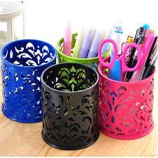 mini round square metal hollow grid pattern pen holder office desktop mini wastebasket trash organization storage box in storage bo bins from home