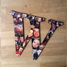 wooden letter photo collage diy designs