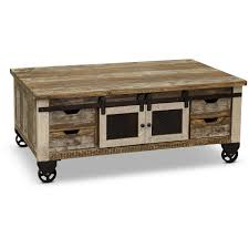 rustic pine coffee table with iron
