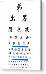 Printable Eye Chart Chinese Eye Chart Acrylic Print