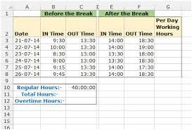 Timesheet Calculator In Microsoft Excel 2010