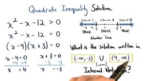 solution of a quadratic inequality on a number line visualizing algebra