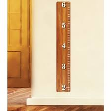Oak Wood Ruler Height Chart Wall Decal