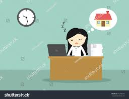stock vector business concept woman feeling so tired and want to go back home vector illustration