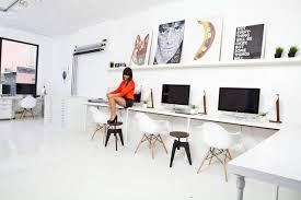 minimalist cool home office. Chic Home Office Furniture Designs With Desks For Imac : Modern Decorating Ideas Using White Wooden Minimalist Cool