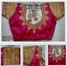 Blouse Half Sleeve Designs Images Code No 585 Grand Zardosi Checked Work In Half Sleeve