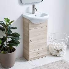 Amazon Com Modern Bathroom Vanity Set Small Bathroom Vanity Bath Vanity With Sink Single Bathroom Vanity Cabinet With Ceramic Sink Bathroom Vanity And Sink Combo 17 7 Inch 1 Door 1 Drawer Gray Wood Grain Kitchen Dining