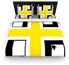 oriana cordero across the white yellow black cotton duvet cover twin 68