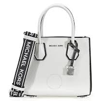 michael kors mercer pebbled leather messenger bag white black item no 30h8sm9m3t 089