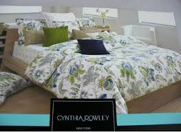 cynthia rowley queen 3pc duvet cover amalfi fl paisley green blue navy beige