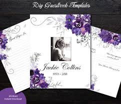 Funeral Guest Book Template Violet Floral Guest Book Template Diy Guest Book Inserts Funeral Guestbook Template Share A Memory Sign