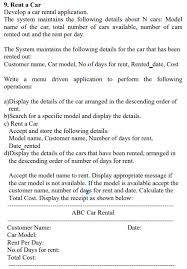 Car Rental Application Solved Develop A Car Rental Application The System Maint
