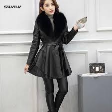 <b>SWYIVY</b> Leather <b>Jacket</b> Women PU <b>Fur</b> Collar Warm 2018 New ...