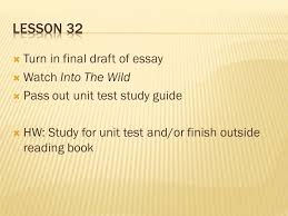 jon krakauer into the wild ppt video online  lesson 32 turn in final draft of essay watch into the wild