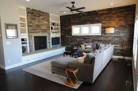 Accent Wall In Living Room accent wall with brown furniture showing dark brown brick wall and 5957 by xevi.us