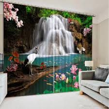 Großhandel Vorhänge Für Wohnzimmer Wasserfall Natur Landschaft Mode