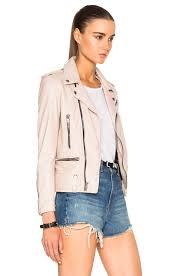 image 4 of saint lau classic washed leather motorcycle jacket in powder rose
