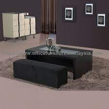 black coffee table with seating
