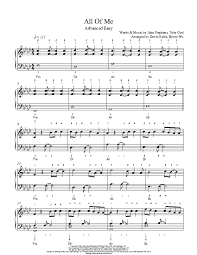 all of me sheet music piano easy all of me by john legend piano sheet music advanced level