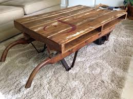 Mill Cart Coffee Table Antique Vintage Wood Barrel Industrial Dolly Hand Cart Coffee
