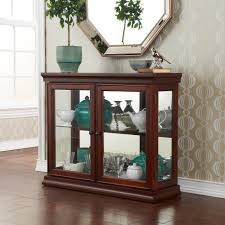 sei mahogany curio cabinet with double tempered glass doors