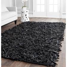 safavieh leather shag black 8 ft x 10 ft area rug lsg511a 8 the home depot charming shag rugs