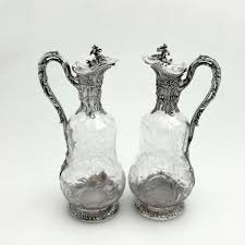 pair french antique silver cut glass claret jugs wine decanters c 1870