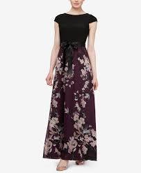 Details About Slny Womens Maxi Dress Black Purple Size 12 Floral Print Chiffon 89 264