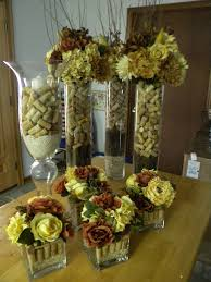 Wine Cork Centerpieces for Wedding...but with purple hydrageneas instead