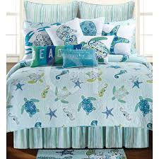turtle bedding this coastal theme quilt features sea starfish in shades of blue and turtle bedding