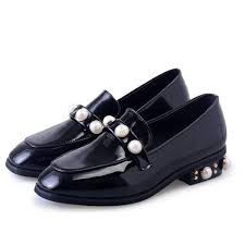 black patent leather square toe low heel pearls loafers for women image 1