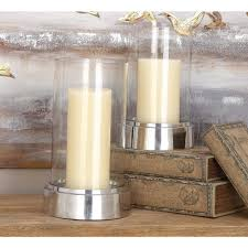 modern aluminium and glass hurricane candle holders