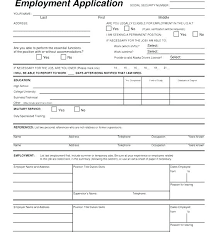 Sample Blank Generic Application For Employment Free Printable