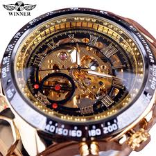 Original WINNER Mechanical Sport Design <b>Golden</b> Watch Mens ...