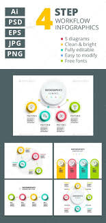 4 Step Workflow Infographics Element Templates Psd Vector