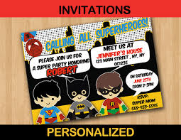 superheroes birthday party invitations superhero kids birthday party invitation card personalized