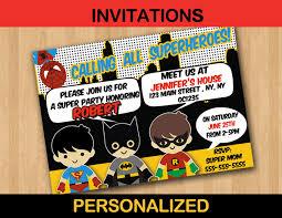 Superhero Kids Birthday Party Invitation Card Personalized