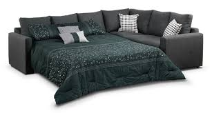 Athina 2 Piece Sectional with Left Facing Queen Sofa Bed Charcoal