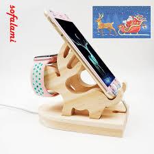 wood bracket elk deer desk dock charging cell phone stand watch holder for iphone 6